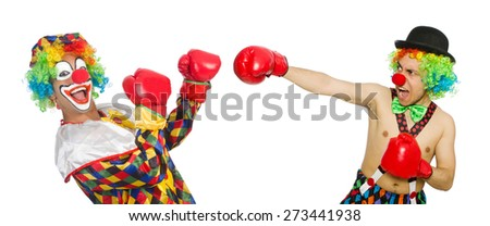 Clown with boxing gloves isolated on the white - stock photo
