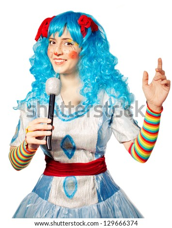 clown woman wearing colorful dress singing .Isolated on white. Performance - stock photo