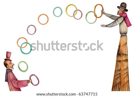 Clowns with rings - stock photo