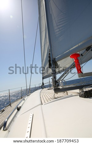 Clsoeup of boat sail by sunny day