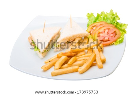 Club sandwich with fried potato