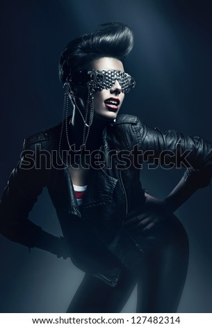 club woman in leather jacket - stock photo