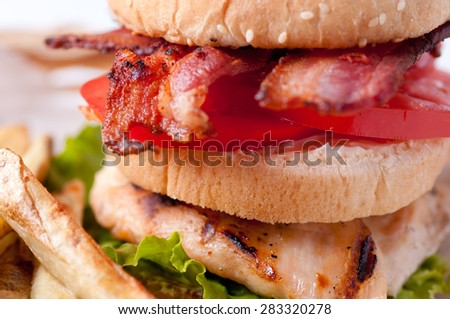 clubhouse sandwich on a burger bun with crispy fries and gravy - stock photo