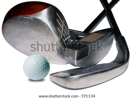 Clubs and Ball - stock photo