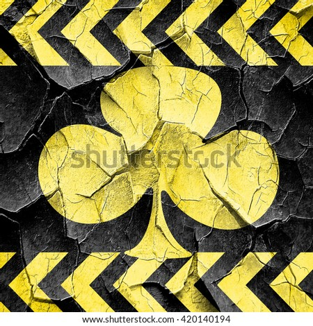 Clubs card background, black and yellow rough hazard stripes