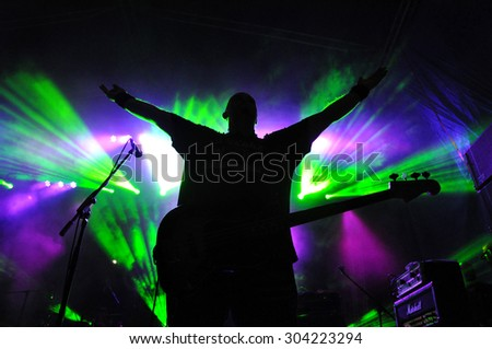 CLUJ NAPOCA, ROMANIA - AUGUST 2, 2015: Hard rock band Altar from Romania, performs a live concert at the Untold Festival - stock photo