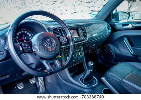Stock Photo Cluj Napoca Romania August Vw Beetle Facelift Leather Interior Highline on 2012 Vw Beetle Instrument Cluster