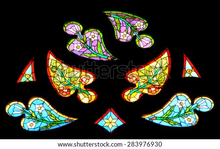 CLUJ NAPOCA, ROMANIA - DECEMBER 27: Biblical scene on a stained glass window inside the Gothic Roman Catholic Church of Saint Michael, built in 1390. On december 27, 2003 in Cluj, Romania - stock photo