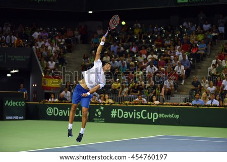 CLUJ NAPOCA, ROMANIA - JULY 16, 2016: Romanian tennis player Horia Tecau playing during a match Davis Cup by BNP Paribas match Romania vs Spain