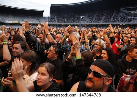 CLUJ NAPOCA, ROMANIA - JUNE 7: Crowd gathering for the concert of Deep Purple during the Cluj Arena Music Fest 2013, on June 7, 2013 in Cluj Napoca, Romania.