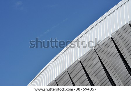 CLUJ-NAPOCA, ROMANIA - MARCH 2, 2016: Detail of the new Uefa Elite football stadium of Cluj Napoca. It was built in 2011 and is home for major sport events.