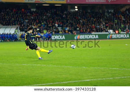 CLUJ-NAPOCA, ROMANIA - MARCH 27, 2016: Goalkeeper Ciprian Tatarusanu, player of the National Football Team of Romania playing during a match against Spain before Euro 2016 - stock photo