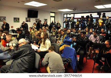CLUJ-NAPOCA, ROMANIA - MARCH 26, 2016: Journalists, photographers and media representatives working during a press conference before the match Romania against Spain - stock photo