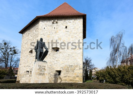 CLUJ NAPOCA, ROMANIA - MARCH 2016: Tailors bastion and Baba Novac monument, in Cluj Napoca city of transylvania region of Romania, a medieval defense tower