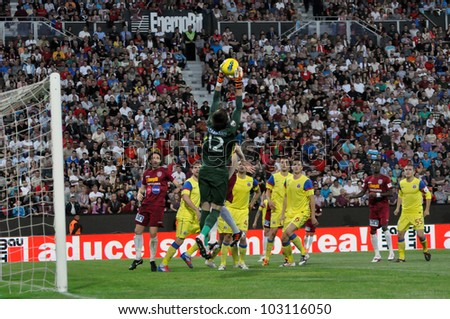 CLUJ-NAPOCA, ROMANIA  MAY 20: Goalkeeper C. Tatarusanu in action at a Romanian National Championship soccer game CFR Cluj vs. Steaua Bucharest, May 20, 2012 in Cluj-Napoca, Romania