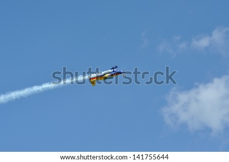 CLUJ NAPOCA, ROMANIA - MAY 18: Romanian Aerobatic Team performs a flight on the Romanian Air Fest on May 18, 2013 in Cluj Napoca, Romania