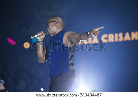 Cluj-Napoca, Romania - November 16, 2017: Haddaway a a Trinidadian-German songwriter and musician performing on stage at We Love Retro Party, Cluj-Napoca, Romania