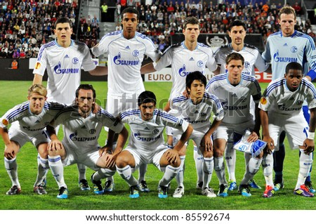 CLUJ NAPOCA, ROMANIA - SEPTEMBER 15: The team of Schalke 04 at the beginning of Steaua Bucharest - Schalke 04 soccer game, Europa League, final score 0:0, on Sept. 15, 2011 in Cluj Napoca, Romania