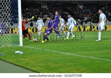 CLUJ - NOV 7: Goalkeeper Pedro Mingote in action at an UEFA Europa League match between Pandurii Targu Jiu and ACF Fiorentina, final score 1:2. On Nov. 7, 2013 at Cluj Arena Stadium, in Cluj, Romania - stock photo