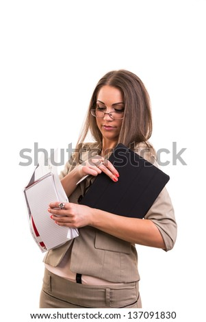 Clumsy Secretary On White Background
