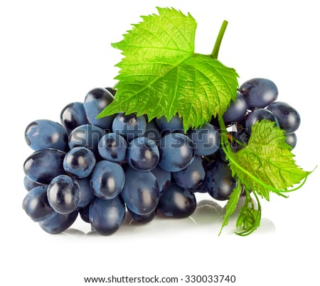 Cluster blue grapes with green leaf. Isolated on white background. Illustration - stock photo