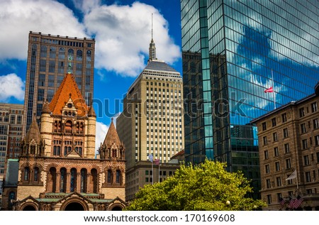 Cluster of buildings at Copley Square in Boston, Massachusetts. - stock photo