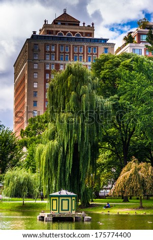 Cluster of buildings in Boston, Massachusetts.  - stock photo