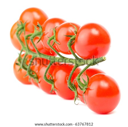 Cluster of cherry tomatoes on the white