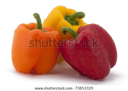 Cluster of colorful bell peppers.