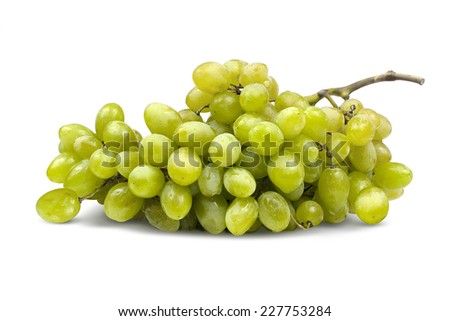 Cluster of green grapes isolated on a white background. - stock photo