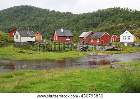 Cluster of mountain huts, traditionally used to look after cattle, now mostly for recreation