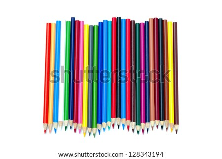 Cluster of multicoloured crayons on white. - stock photo
