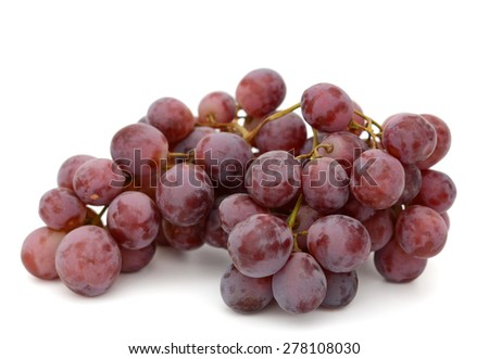 cluster of red grapes isolated on white  - stock photo