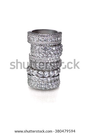 Cluster stack of diamond wedding engagement rings