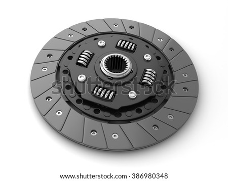 Clutch disc car on white background (done in 3d, cgi)  - stock photo
