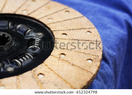 Clutch disk on a blue background