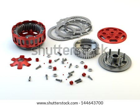 Clutch parts disassembled isolated on white background - stock photo