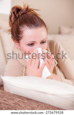 clwaning up nose feeling unwell - stock photo