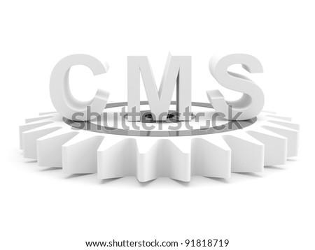 CMS : content management system concept. 3D model - stock photo