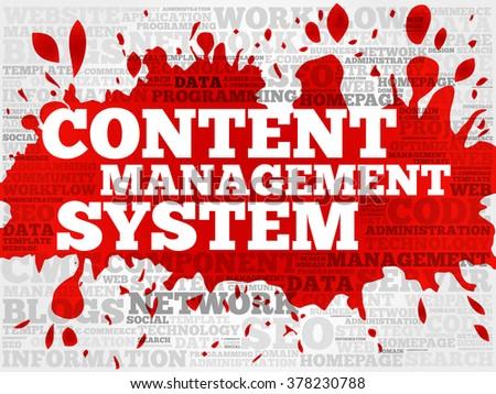 CMS - Content Management System word cloud, business concept - stock photo