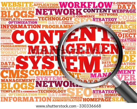 CMS Content Management System word cloud with magnifying glass, concept - stock photo