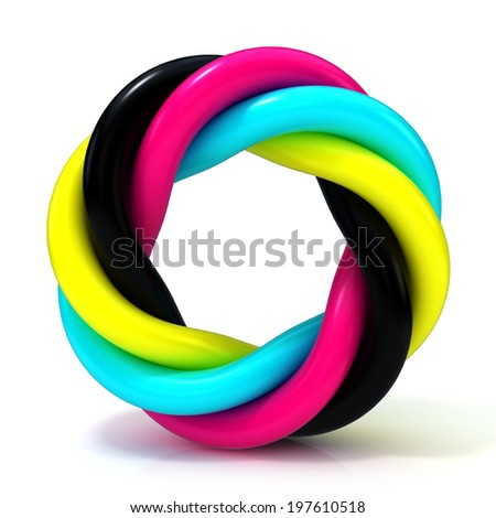 CMYK abstract circular sign isolated on white background - stock photo