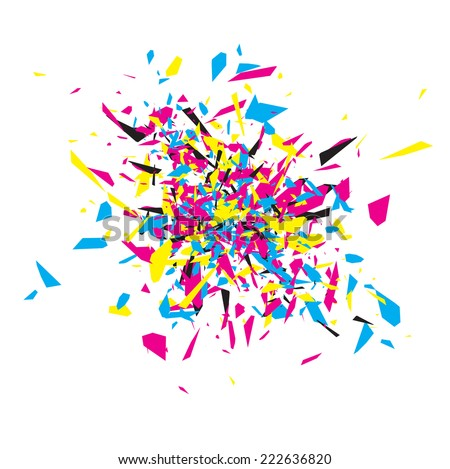 CMYK Abstract Explosion Design Over White  - stock photo