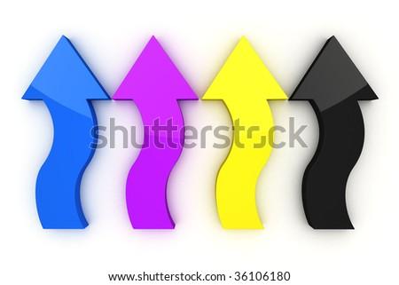 CMYK Arrows on white background - stock photo