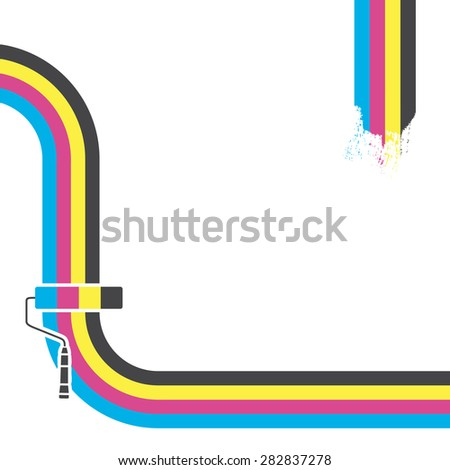 CMYK  background. Print colors paint roller. - stock photo