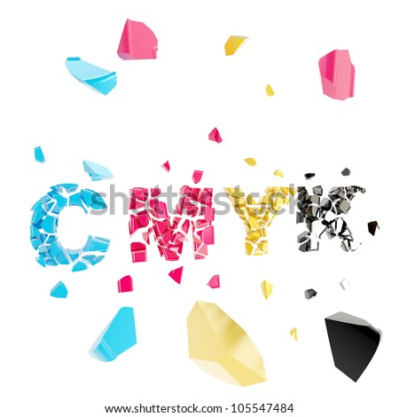 CMYK broken, word explosion smashed into tiny pieces isolated on white - stock photo