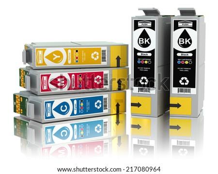 CMYK. Cartridges for colour inkjet printer. 3d - stock photo