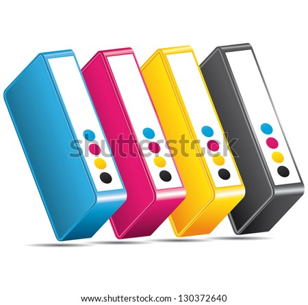 CMYK CMJN ink toners. Cartridges icon. - stock photo