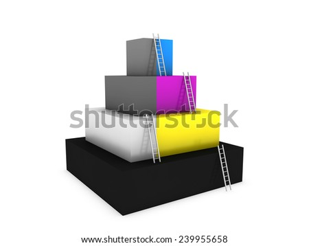 CMYK colors cubes  - stock photo