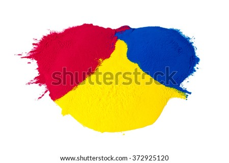 CMYK colour toner for printer cyan magenta yellow isolated on white background - stock photo